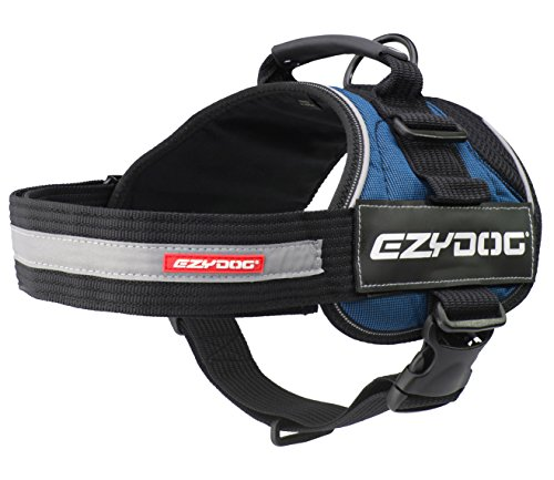EzyDog Convert Trail-Ready Outdoor Adjustable Dog Harness - Perfect for Hiking, Walking, and Doubles as a Service Dog Vest - Superior Comfort Design with a Durable Traffic Handle (Small, Blue)