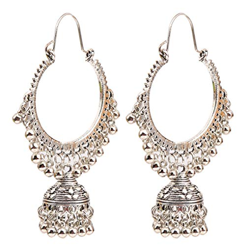 Timesuper Vintage Ethnic Traditional Indian Bell Tassel Pendant Hoop Chandelier Jhumka Earrings Statement Earrings for Women and Girls,Ancient silver