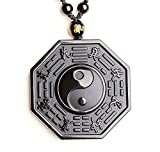 ZTAN Vintage Obsidian Necklace Yingyang Amulet Pendant with Long Adjustable Bead Chain