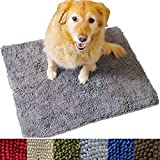 Enthusiast Gear Dog Mud Door Mat | Ultra Absorbent Microfiber Chenille Non-Slip Doormat, Dog Bowl Floor Mat, Crate Rug – No More Dirty Dogs with Muddy Paws – Washable - Brown