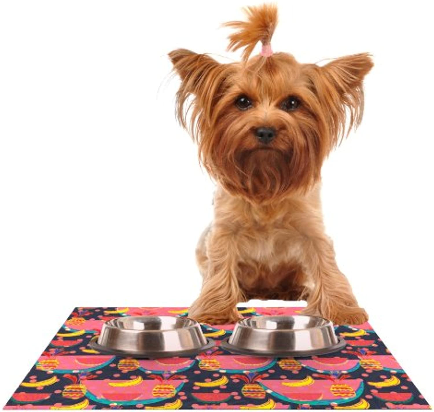 Kess InHouse Akwaflorell Yummy  Feeding Mat for Pet Bowl, 18 by 13Inch