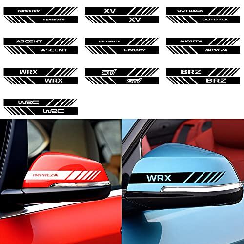 2個車のバックミラー反射ステッカー装飾スバルフォレスターxvアウトバック上昇レガシィインプレッサwrx sti brz wrc-Black, WRX