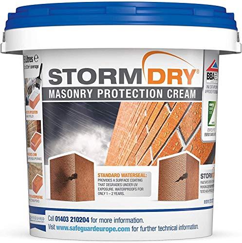 Stormdry Fassadenschutzcreme 5L - 25 Jahre Schutz gegen Feuchtigkeit - die einzige BBA & EST zertifizierte Mauer & Stein Imprägnierung mit Hydrophobierender Wirkung - reduziert Energieverlust - stoppt Nässe