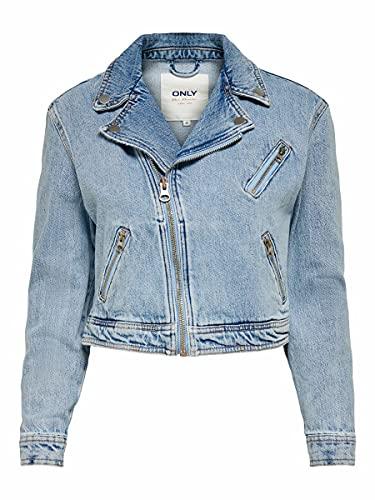 Only Onlsteffie DNM Biker Jacket Nas Giacca, Denim Light Medium, M Donna