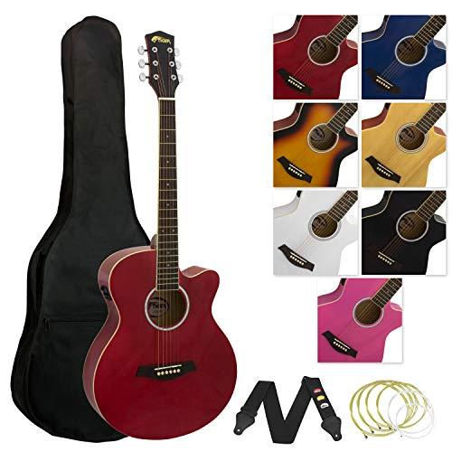 Tiger - Guitarra electroacústica con accesorios, color rojo