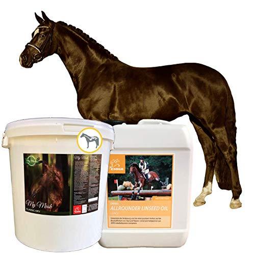 Emma® Mash + Omega 3 Leinöl I haferfrei I Anteil Leinsamen geschrotet I alte Pferde bei Zahnproblemen I vorbeugend Verdauungsprobleme Kolik Kotwasser Durchfall beim Pferd 2kg 2,5L
