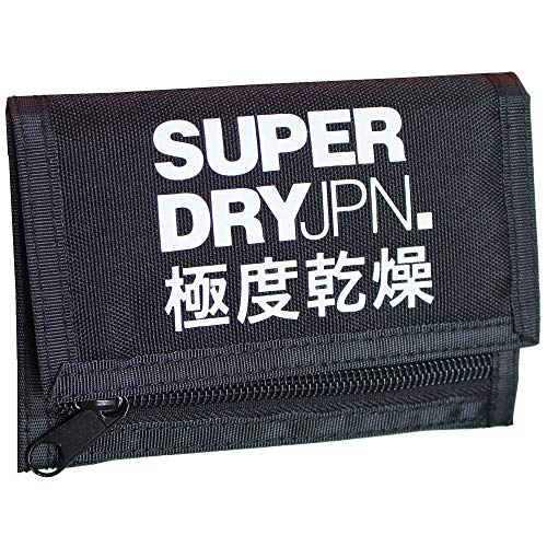 Superdry Herren Tri_fold Polyester Wallet Geldbörse, Schwarz (Black), 13x1,5x9,5 cm