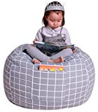 Great Eagle Stuffed Animal Storage Bean Bag Chair Cover|38' Extra Large Cotton Canvas | Bean Bag Chair for Kids, Toddlers and Teens(Boys or Girls)|Toy Storage Bag|Grey Checker