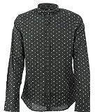 Armani Exchange AX Herren Slim Fit Printed Stretch Cotton Long Sleeve Woven Hemd, Schwarzes Logo Flash, Klein
