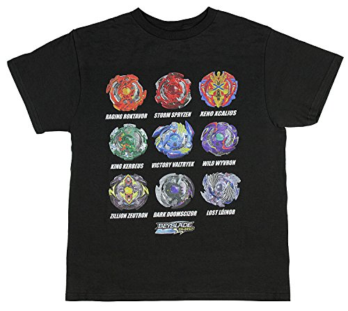 Bioworld Beyblade Burst Boys' Spinner Tops T-Shirt, Black, Large