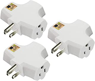 Kasonic 3-Outlet Grounding Adapter (3 Pack); Heavy-Duty Grounded Power Tap; UL Listed Plug Extender (White)