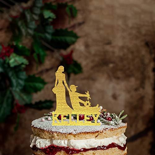 Rustieke auto Mechanische Silhouette Bruiloft Cake Topper, Gepersonaliseerde naam Cake Topper,Mr &Mrs Bruiloft Topper met Bruid en Groom voor Verjaardag