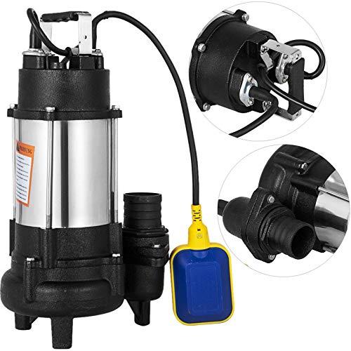 Happybuy Sewage Pump 1 HP 110V 6340 GPH 62' Lift 304 Stainless...