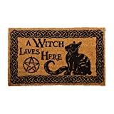 Nemesis Now Witch Lives Here Doormat 45cm Brown, PVC Backed Brush Coco, 45 x 75cm