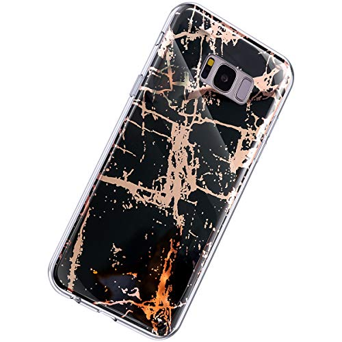 Herbests Kompatibel mit Samsung Galaxy S8 Plus Hülle Glänzend Glitzer Marmor Muster Schutzhülle Weich Silikon Ultra Dünn Handyhülle Handytasche Durchsichtige Silikon Hülle Case,Marmor Schwarz
