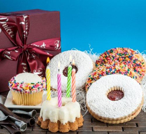 Dulcet Happy Birthday Gift Basket-Vanilla Sprinkled Cupcake, Lemon Bunt, Sugar Cookies, Linzer Tart Cookie. Birthday Candles! Best Gift Idea!