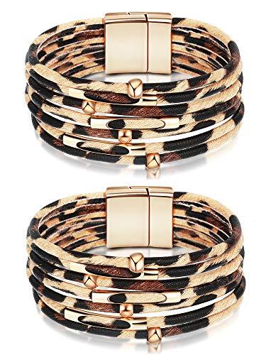 2 Stücke Leopard PU Leder Armband Leder Wickelarmbänder Mehrschicht Manschette Armband für Mädchen Frauen Täglichen Party Favors (Beige)