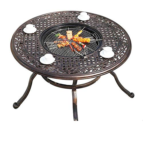 WFFF Multi-functional Fire Pit Desk BBQ Round Desk garden Terrace Fire Pit, Brazier, Coffee Table, Hollow Carved Design Aluminum Fire Pit Stainless Steel Food Rack