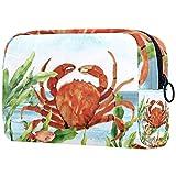 Bolsa de brochas de maquillaje personalizables, bolsas de aseo portátiles para mujeres, bolso cosmético, organizador de viaje, cangrejo rojo
