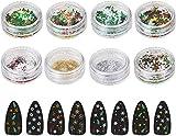Naler 8 Cajas de Lentejuelas De Uñas Copo de Nieve de Colores para Decoración de Uñas de Navidad