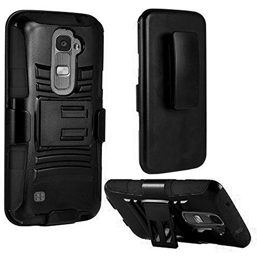 LG K7 Tribute 5 Case, Bastex Hybrid Heavy Duty Protection Black Rubber Silicone Cover Hard Plastic Black Kickstand Case with Holster Clip for LG K7 Tribute 5