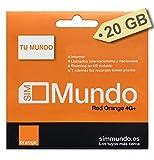 Orange - Tarjeta SIM Prepago (Tu Mundo) 20 GB en España | 800 Minutos Nacionales e internacionales | 8,5 GB Roaming en Europa | Activación Solo Online | Velocidad 4G