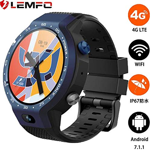 LEMFO LEM9, Dual Systems Orologio intelligente 4G LTE Phone Android 7.1.1 1GB+16GB Display da 1,39 pollici Fotocamera frontale da 5 megapixel 600Mah Monitor della frequenza cardiaca, pedometro (Blu)