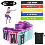 Aenamer Bandas Elasticas Musculacion, Bandas de Resistencia Fitness de Tela 8 Niveles para Hombre Mujer, Bandas de Ejercicios para Yoga Pilates Crossfit Gym Estiramientos Fisioterapia