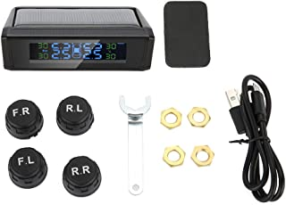 Wireless Solar TPMS Tire Pressure Monitoring System LCD Monitor Alarm with 4 External Sensor
