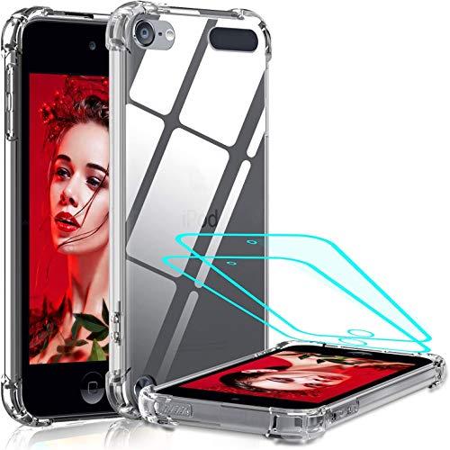 LeYi per Cover iPod Touch 7/6/5 (7g,6g,5g Generazione),Custodia con Vetro Temperato [2 Pack], Silicone Trasparente Hard PC Bumper TPU Cover per Apple iPod Touch 7/6/5 Trasparente