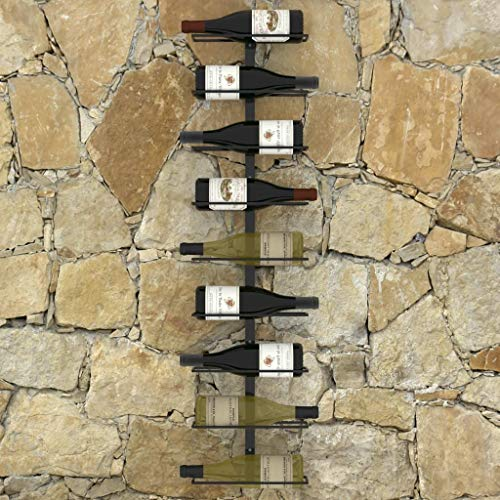 Botellero de Pared para 9 Botellas Botellero de Vino Soportes Hierro Estantes de Vino Champagne Cerveza Decoración para Bar Hogar y Cocina [EU Stock]