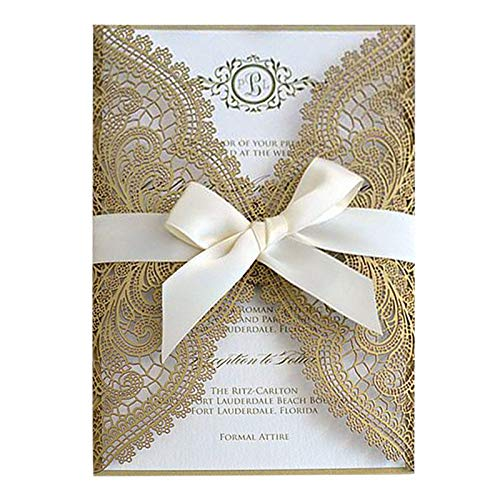 Picky Bride 50PCS Gold Lace Wedding Invitations Suite Elegant Laser Cut Invitation Wedding Cards - Set of 50 (Blank Invitations)