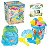 The STORYBOOK KIDS Explorers Club Beach Toys Box for Toddlers - 16-Piece Ice Cream Sandbox Toys Kit for Toddler Boys & Girls - Strong Carry Bag & Fun Board Book - Baby Sand Building Set for Kids 3-10