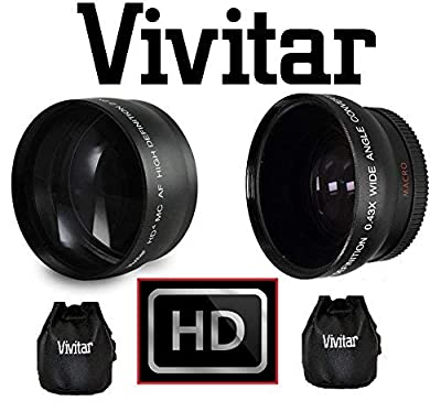2-Pc HD Telephoto & Wide Angle Lens for Canon Vixia HF R72 R700 R70 R600 R62 R60 from - Vivitar