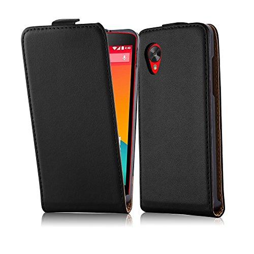 Cadorabo Funda para LG Nexus 5 in Negro DE Caviar - Cubierta Proteccíon Estilo Flip de Cuero Sintético Liso - Etui Case Cover Carcasa