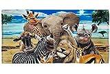 Dawhud Direct Selfie Super Soft Plush Cotton Beach Bath Pool Towel (Safari Animals)