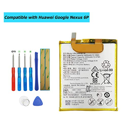 E-YIIVIIL HB416683ECW Replacement Battery Compatible with Huawei Google Nexus 6P H1511 H1512 with Toolkit