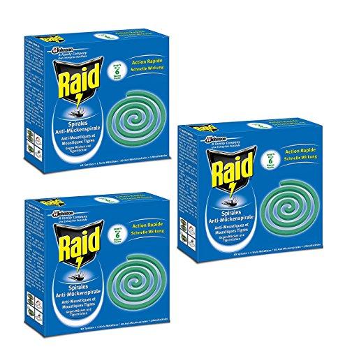 Raid Spirales Anti-Moustiques et Moustiques Tigres lot de 3 x 10 Spirales pour Usage Extérieur + 1 Socle Métallique Diffusion Insecticide 6h
