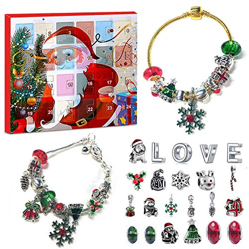 FANFX Christmas Advent Charms Calendar 2020 for Kids Girls DIY Beautiful Bracelets Set with Fashion Jewelry Cute Pendant (A)