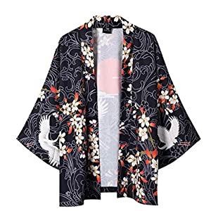 Asibeiul Japanese Kimono Mens Womens Cloak Jacke Fashion Casual Shirts Half Sleeves Top Blouse Flower Birds Printing…