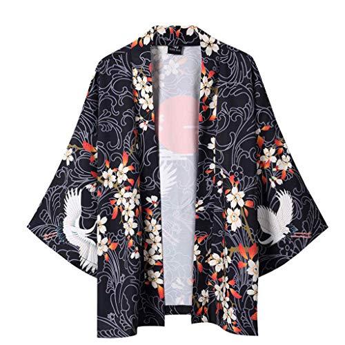 MEIbax Herren Sommer japanische fünf Punkt Ärmel Kimono Herren und Damen Mantel Jacke Top Bluse