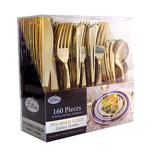 Plastic Cutlery Silverware Extra Heavyweight Disposable Flatware, Full Size Cutlery Combo, Polished Gold, 80 Forks, 40 Spoons, 40 Knifes, Value Pack 160 Count
