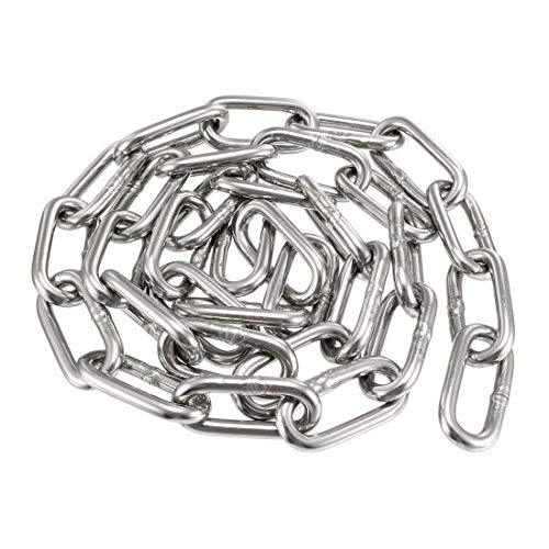 DyniLao Cadena de bobina de prueba endurecida de acero inoxidable 304 1 m de longitud 5 mm de espesor galvanizado