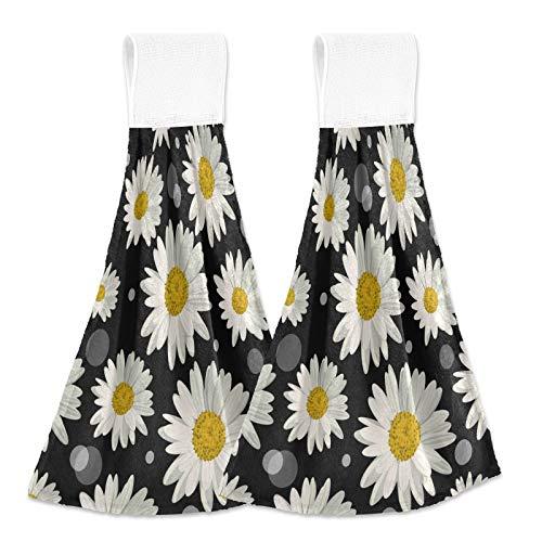 SunsetTrip - Toalla de mano con diseño de margaritas con lunares florales con lazo para colgar, 2 piezas para cocina, baño, suave y absorbente, toalla para colgar en seco para niños