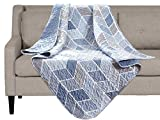 SLPR Heather Quilted Throw Blanket - 50' x 60' | Cream and Blue Chevron Lap Quilt for Couch and Bed