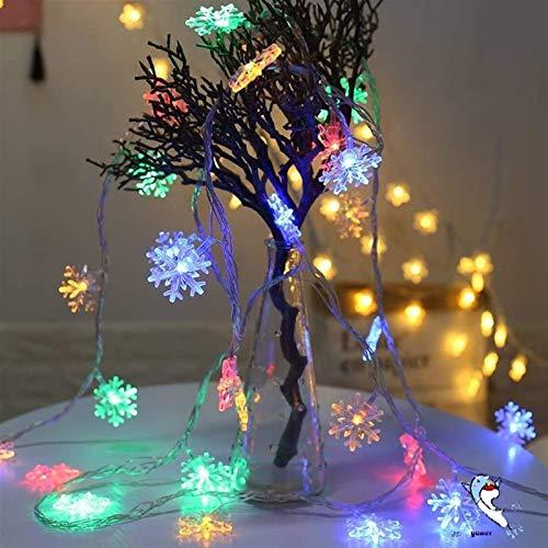 AOIWE Festoon cadena luces LED copo de nieve secuencia luces nieve hadas guirnalda decoración para árbol de Navidad Año Nuevo Roomn batería funciona