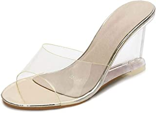 Women'S Transparent Mules Sandals,Ladies PVC Slingback Pumps Shoes for Wedding Peep Toe Slip-On Party Wedding Shoes