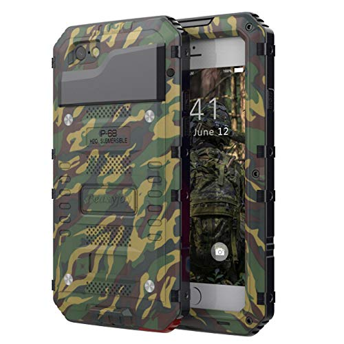 Beasyjoy iPhone 6 Case iPhone 6s Metal Case Heavy Duty Military Grade Durable Case with Screen Protective Cover Dropproof Shockproof Waterproof Rugged Defender for Outdoor, Camo