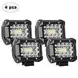 AAIWA LED Light Bar, LED Luci da Lavoro 4PCS 4 Pollici 60W LED Pods Fendinebbia per Fuoristrada, Camion, Auto, ATV, SUV (4Pcs 60W Combo Lights)