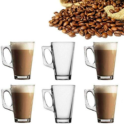 6 x latteglas te kaffe cappuccino varm dryck mugg koppar 240 ml hög temperaturbeständighet - av Guilty Gadgets
